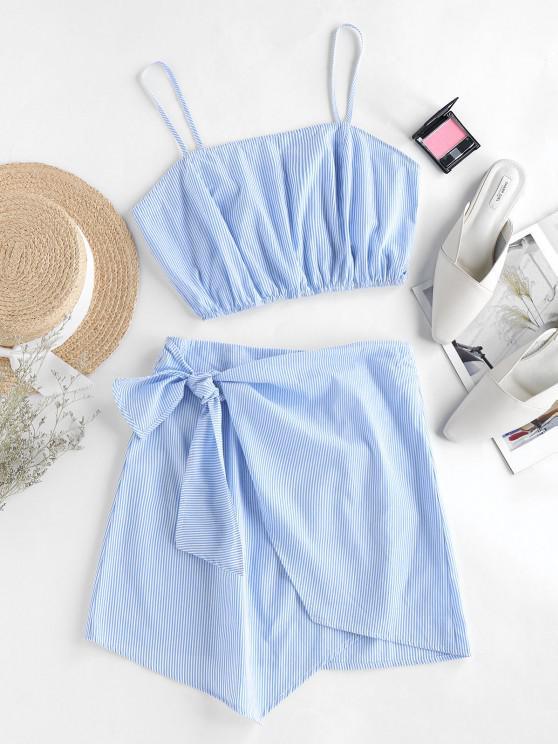 latest ZAFUL Stripes Overlap Knotted Two Piece Dress - SKY BLUE L