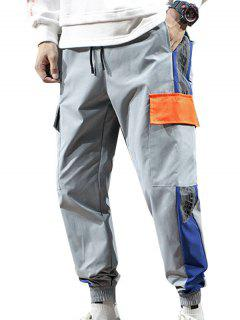 Letter Print Contrast Cargo Jogger Pants - Light Gray M