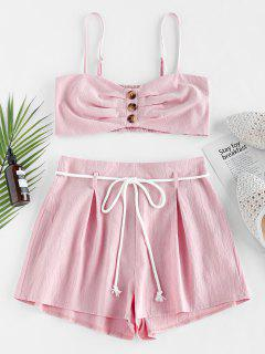 ZAFUL Buttons Smocked Cami Top Two Pieces Set - Pink Rose Xl