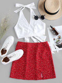 ZAFUL Halter Self Tie Top With Print Skirt Two Pieces Set - Lava Red Xl