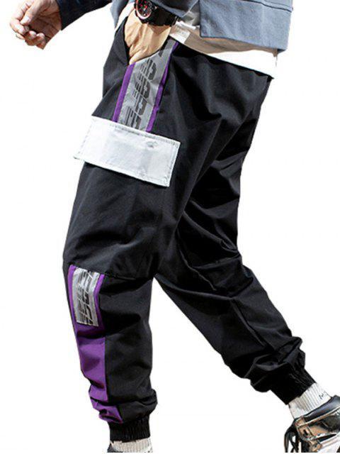 Jogger Pantalones de Estampado de Letras - Negro S Mobile