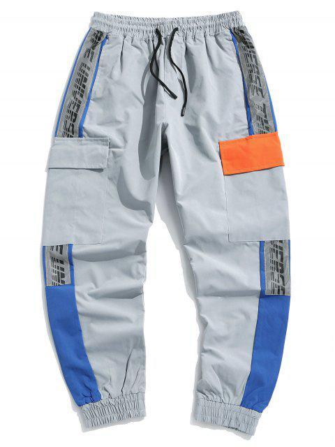 Jogger Pantalones de Estampado de Letras - Gris Claro S Mobile
