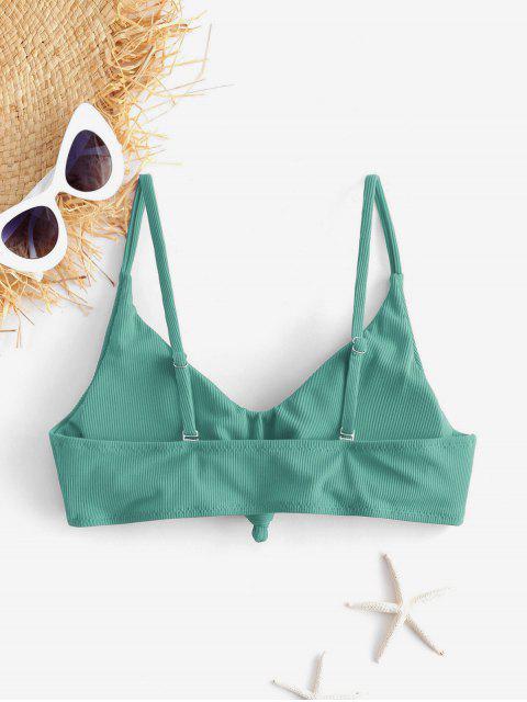ZAFUL Top de Bikini Acanalado con Nudo Lateral - Verde de Tortuga Marina L Mobile