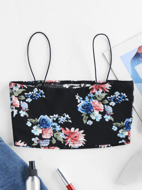 hot ZAFUL Floral Print Crop Camisole - BLACK M Mobile
