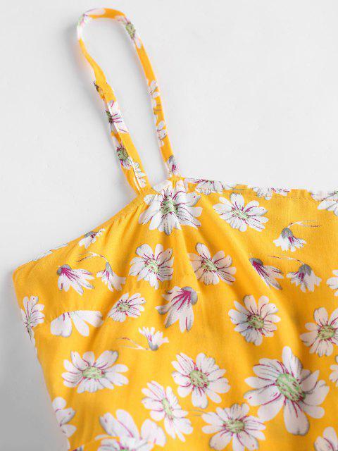 unique ZAFUL Daisy Floral Print Flounce Cami Romper - YELLOW XL Mobile