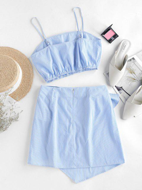 latest ZAFUL Stripes Overlap Knotted Two Piece Dress - SKY BLUE L Mobile