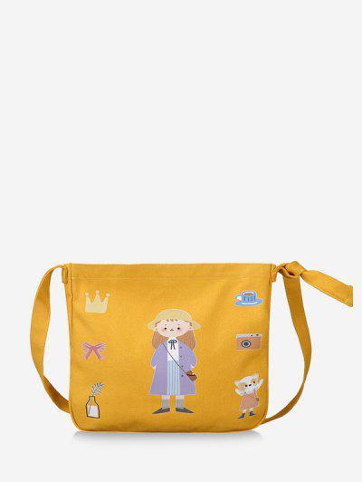 Canvas Cartoon Printing Crossbody Bag - Bee Yellow