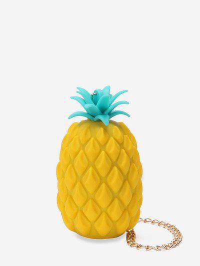 Pineapple Shape Chain Crossbody Bag - Yellow