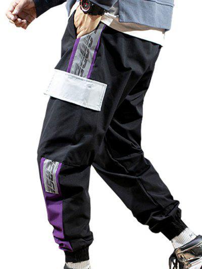 Letter Print Contrast Cargo Jogger Pants - Black M