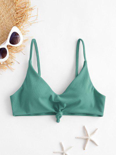ZAFUL Knot Side Boning Ribbed Bikini Top - Sea Turtle Green S