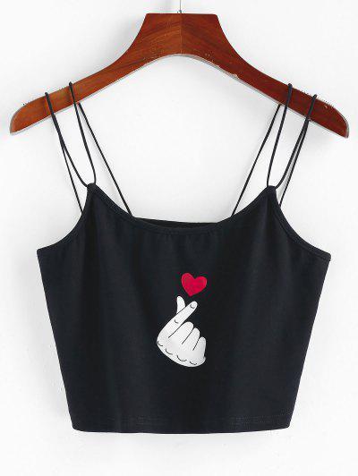 ZAFUL Strappy Valentine Heart Graphic Cami Top - Black S