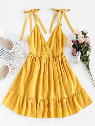 ZAFUL Vestido Envuelto En A Con Volantes - Amarillo S