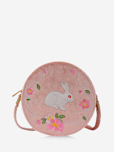 Embroidery Floral Rabbit Canteen Bag - Khaki Rose