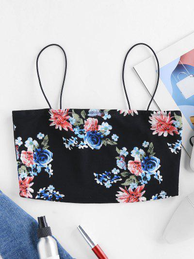 ZAFUL Floral Print Crop Camisole - Black M