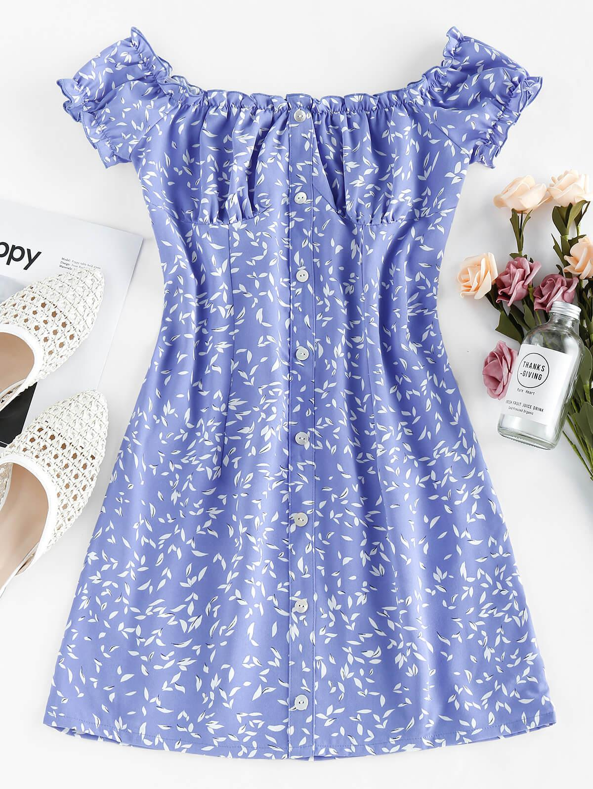 ZAFUL Leaf Print Buttons Off Shoulder Mini Dress