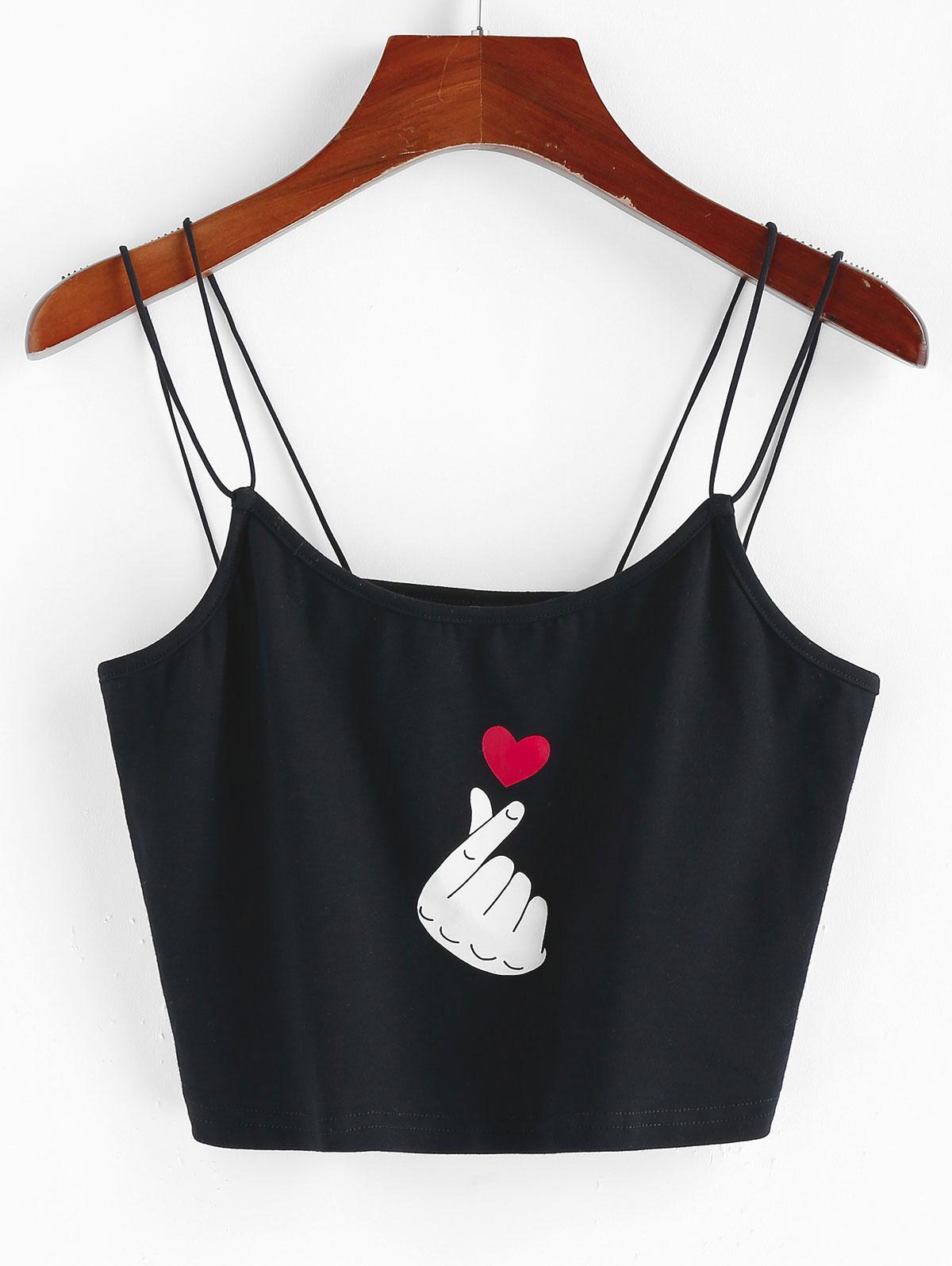ZAFUL Strappy Valentine Heart Graphic Cami Top