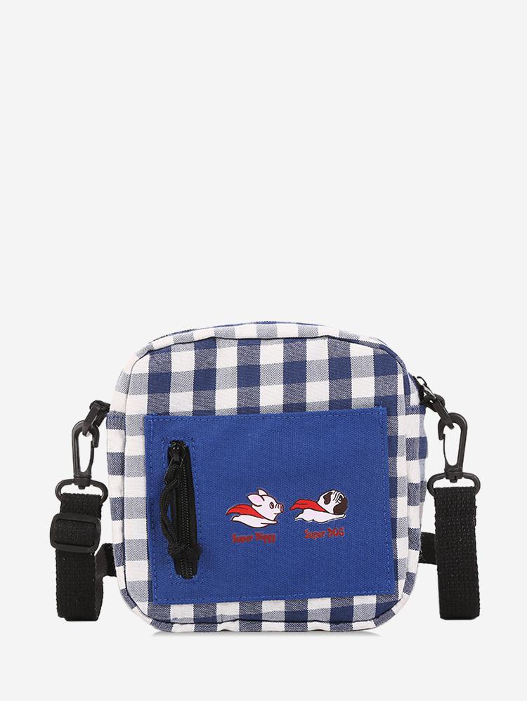 Canvas Color Block Plaid Leisure Crossbody Bag
