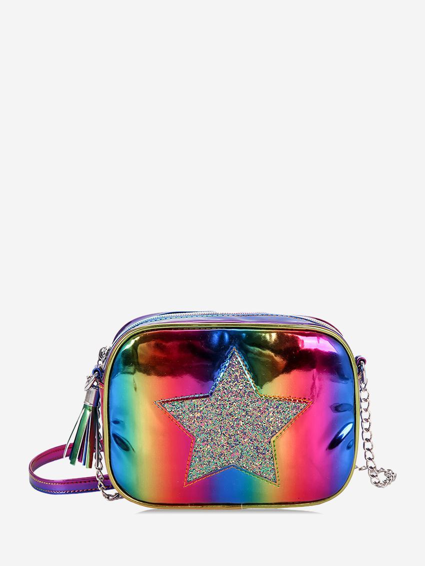 Sequins Star Pattern Decor Crossbody Bag