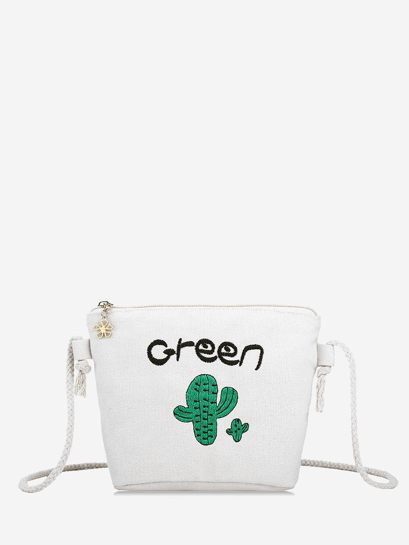 Embroidery Cactus Rope Crossbody Bag