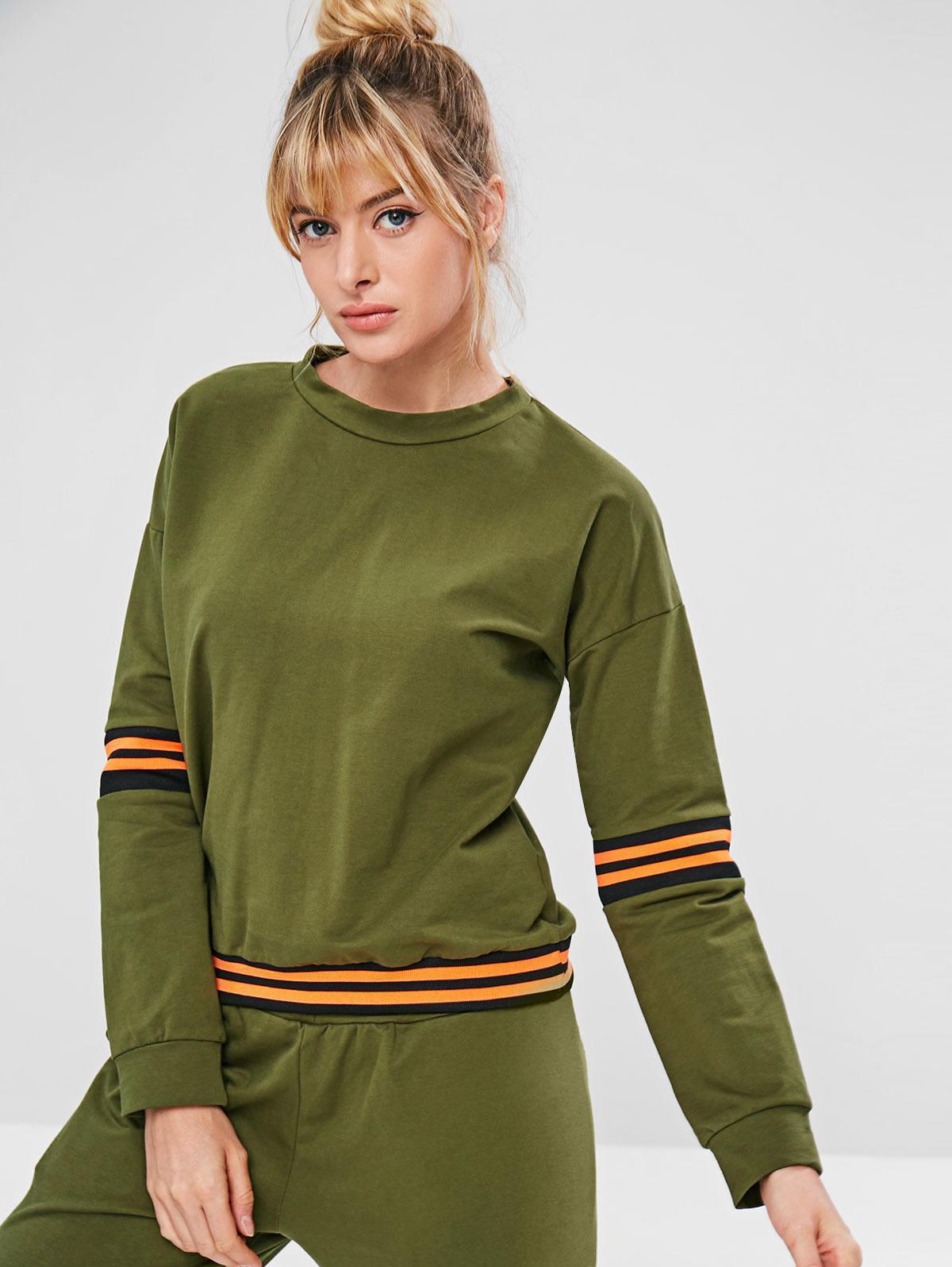 ZAFUL Drop Shoulder Striped Sweatshirt