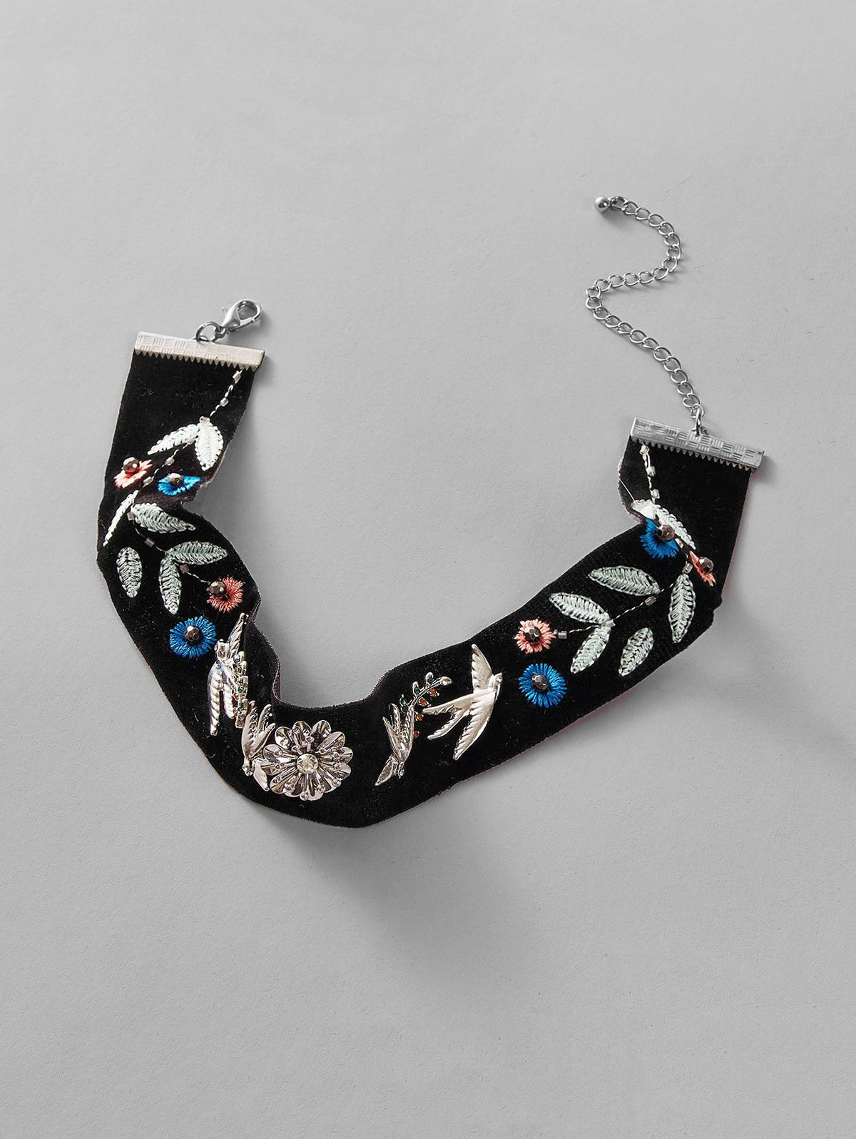 Ethnic Floral Bird Choker Necklace thumbnail