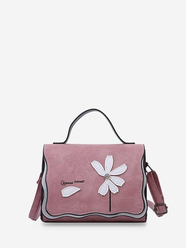 Flower Stitching PU Leather Cross Body Bag