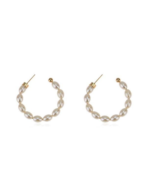 C-shape Faux Pearl Stud Earrings