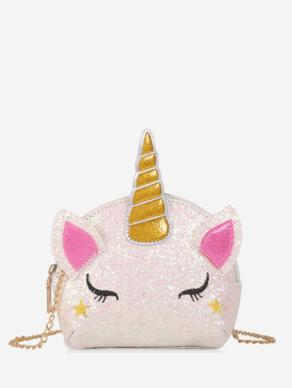 Chain Cartoon Unicorn Sequins Crossbody Bag