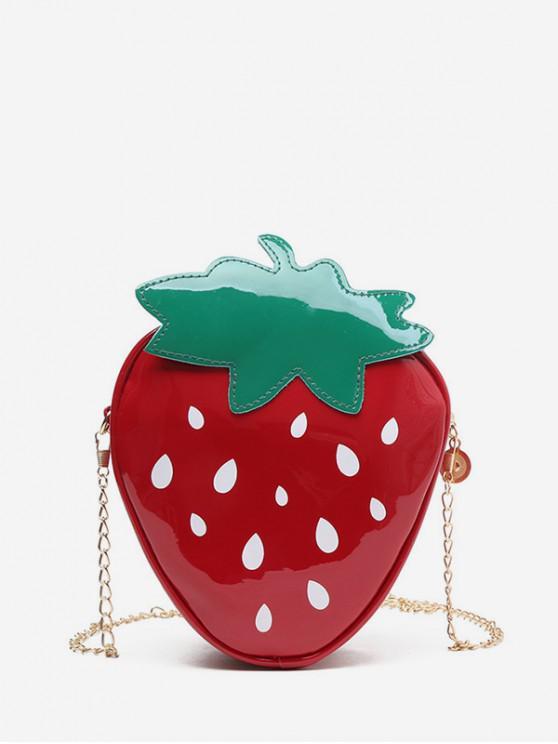 fancy Chain PU Strawberry Crossbody Bag - CHERRY RED