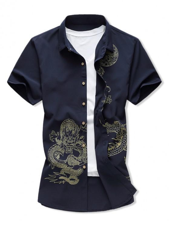online Dragon Print Button Up Short Sleeve Shirt - CADETBLUE 2XL