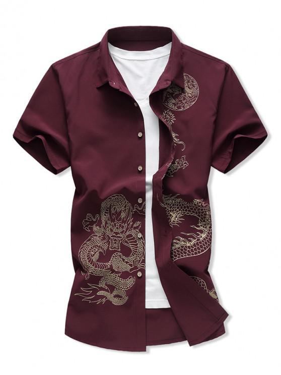 unique Dragon Print Button Up Short Sleeve Shirt - RED WINE 2XL