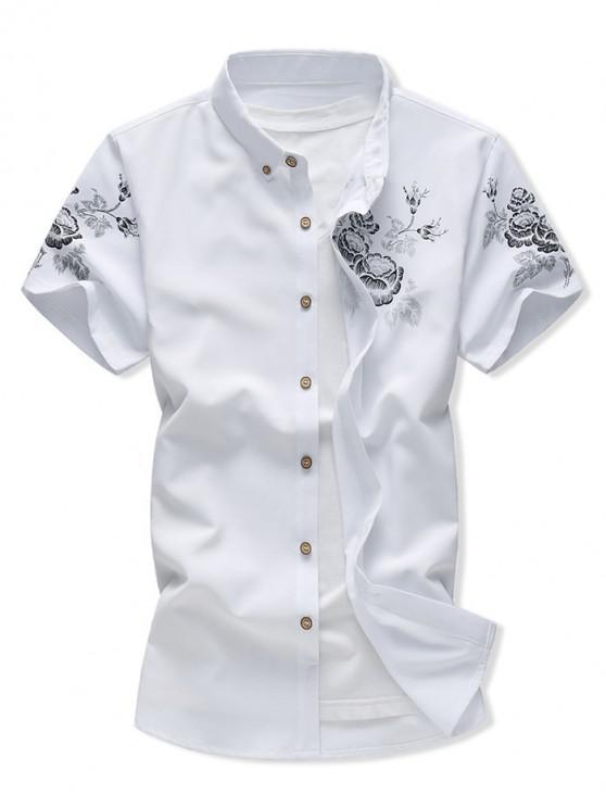 new Flower Print Button Down Casual Shirt - WHITE 2XL