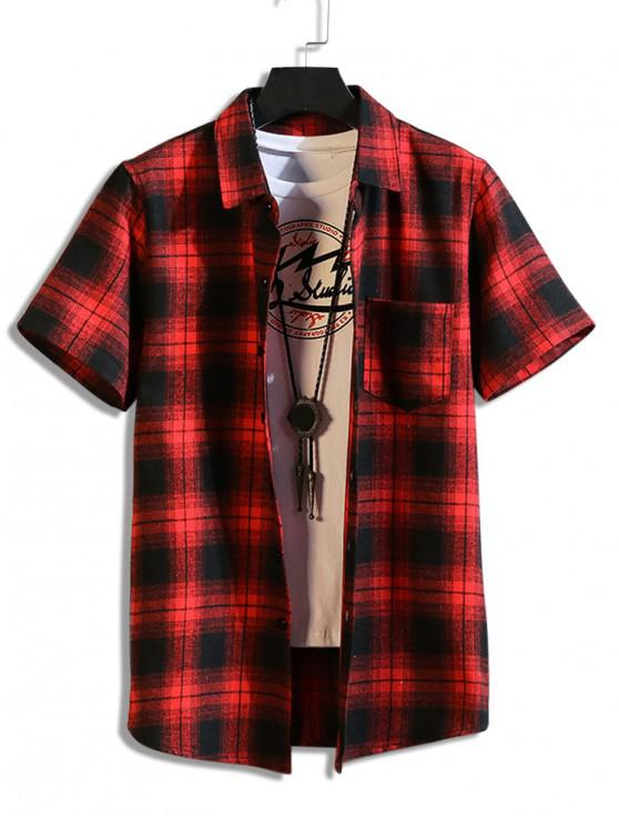outfit Plaid Print Casual Pocket Shirt - RED 2XL