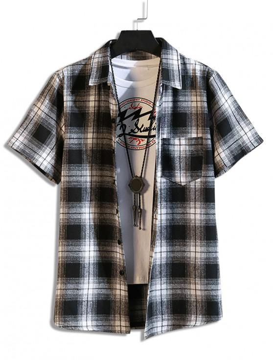 fashion Plaid Print Casual Pocket Shirt - BLACK 2XL