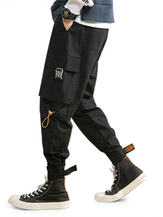 trendy Release Buckle Multi Pockets Drawstring Cargo Pants - BLACK M