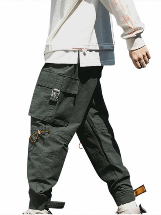 fancy Release Buckle Multi Pockets Drawstring Cargo Pants - CARBON GRAY M
