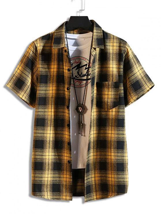 Camisa de Bolsillo Casual a Cuadros - Amarillo 2XL