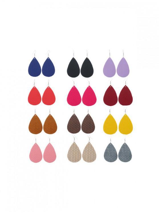 Conjunto de Pendientes Cuero Artificial de Gota de Agua - Multicolor