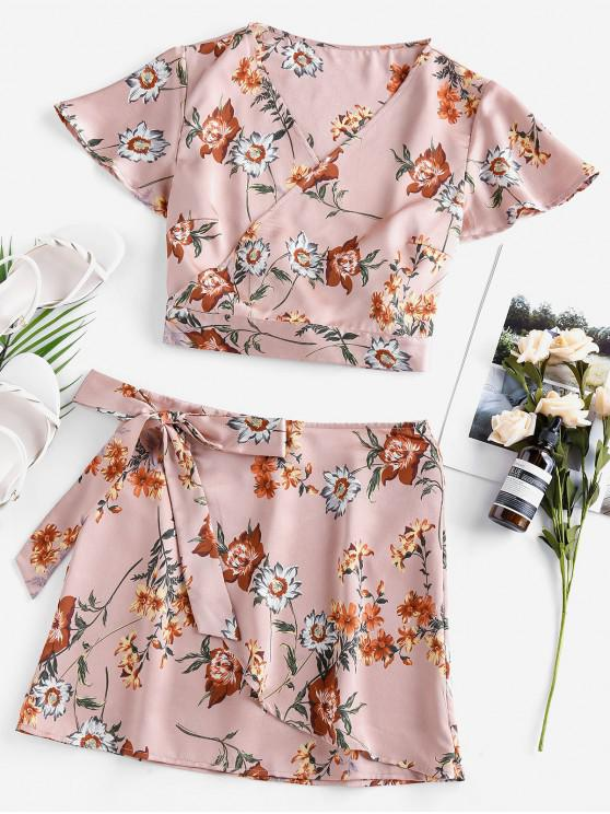 lady ZAFUL Flutter Sleeve Floral Wrap Two Piece Dress - ROSE M