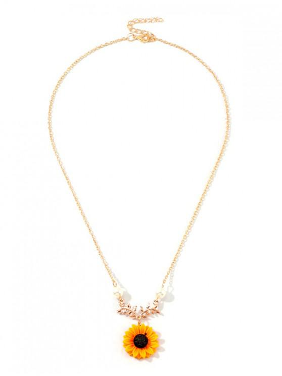 shop Sunflower Pendant Faux Pearl Necklace - GOLD