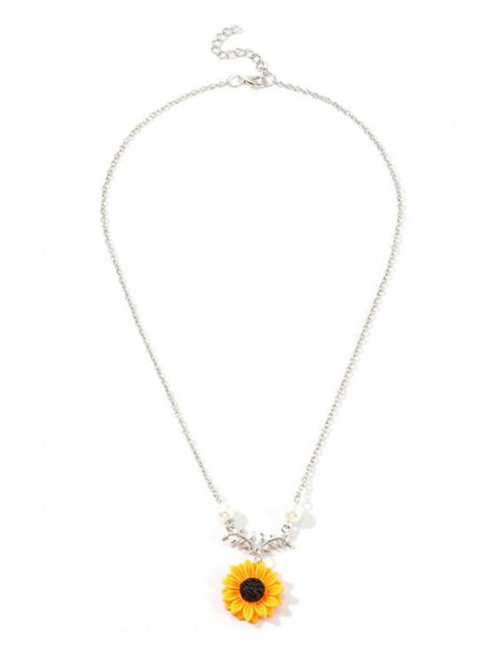 shops Sunflower Pendant Faux Pearl Necklace - SILVER