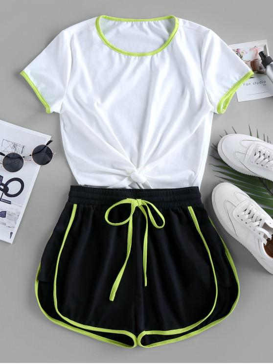 hot ZAFUL Contrast Stripe Knotted Gym Set - WHITE M