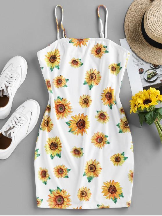 ZAFUL Sunflower Print Bodycon Mini Dress - أبيض L