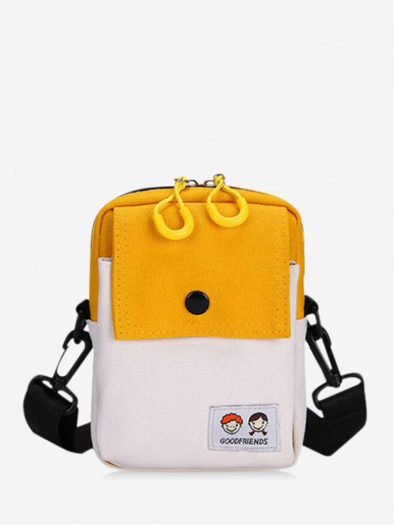 outfits Colorblock Rectangle Canvas Crossbody Bag - BEE YELLOW