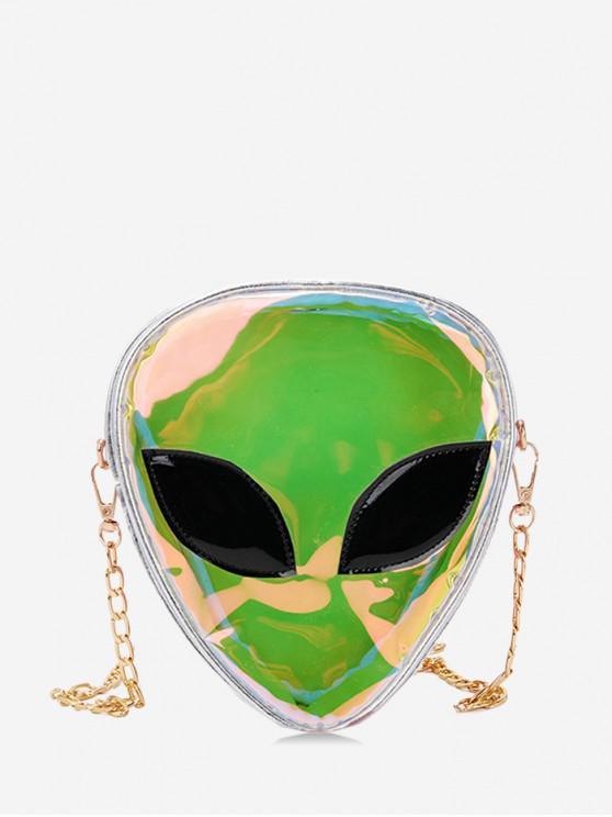 womens Alien Shape Hologram Crossbody Bag - SILVER