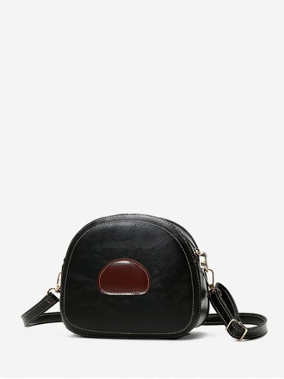 best PU Leather Color Spliced Crossbody Bag - BLACK