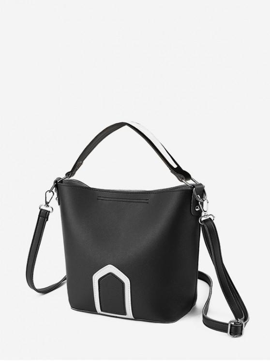 PU التباين على نطاق واسع CROSSBODY حقيبة - أسود