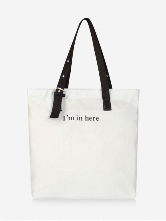 fashion Graphic Print Letters Canvas Shoulder Bag - WHITE