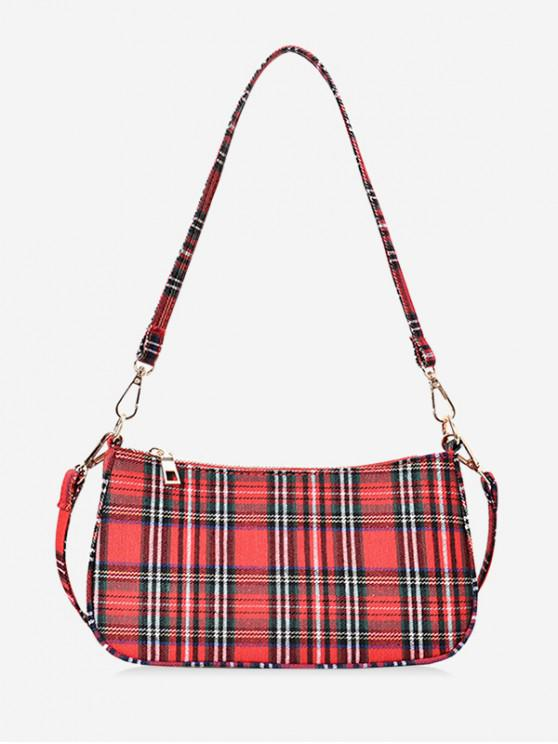 shops Canvas Checkered Mini Shoulder Bag - RED