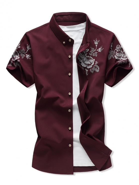 Camisa Casual Estampado Floral Botón - Vino Tinto L